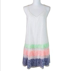 DO+BE lace overlay rainbow dress size small